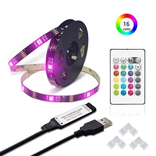 RGB LED Streifen Licht 5m/16.4ft LED flexible Streifen Lampe mit 24Key RF Fernbedienung, 5050 SMD Schwarz PCB Board LED TV Hintergrundbeleuchtung USB Vorspannungs beleuchtung für 40-80 Zoll TV