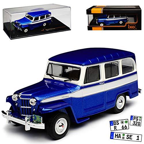 Ixo Jeep Willys Station Wagon Blau 1960 1/43 Modell Auto mit individiuellem Wunschkennzeichen