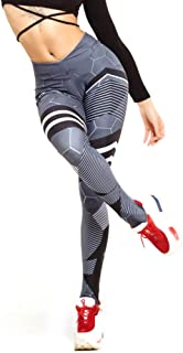 Women Geometry Print Yoga Pants Girls Fitness Leggings Stripe Trousers