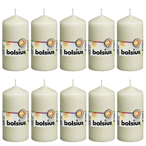 Bolsius Pack of 10 Pillar Candles 120/60mm (Packaged in Cellophane) Ivory