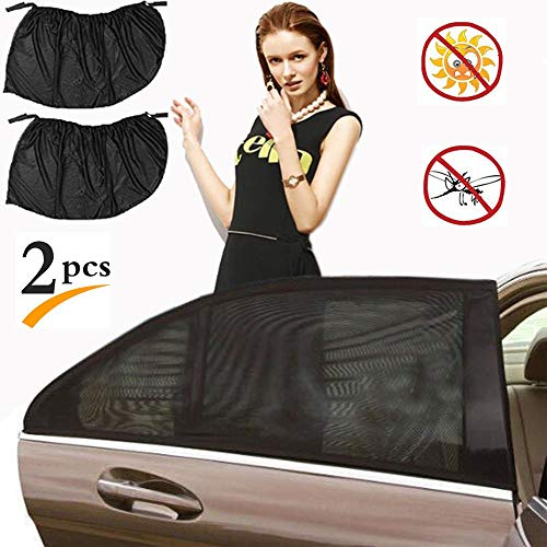Car Window Shade,Side Window Shade Stretchable and Breathable Mesh Rear Window Sun Shade- Protect Baby Kids Pet from Sun's Glare & Harmful UV Rays - Fit for All Cars/Trucks/SUVs - 2 Packs