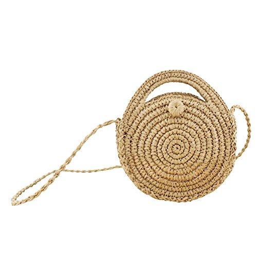 Ruier-hui Damen Strandtasche, Korbtasche rund,High Fashion Strohtasche rund für Ihren Sommerstyle,Hellbraun