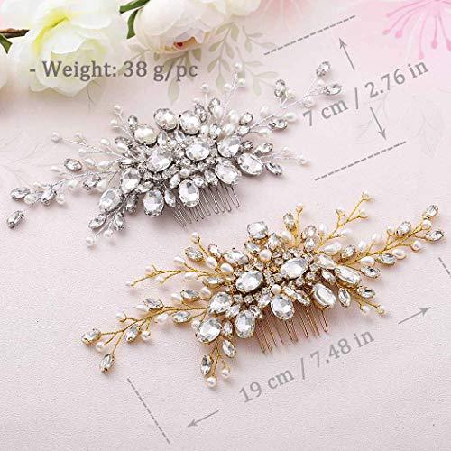 Barogirl Bride Hair Comb Wedding Rhinestones Headpiece Boho Bridal Flower Hair Accessories for Women (Silver)
