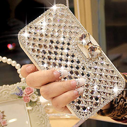 LAPOPNUT for iPhone 6 Plus Case for iPhone 6S Plus Case Bling Jewelry Diamond PU Leather Flip Case Sparkly Crystal Rhinestone Case with Magnetic 3D Bowknot Card Slot Stand Wallet Cover Skin