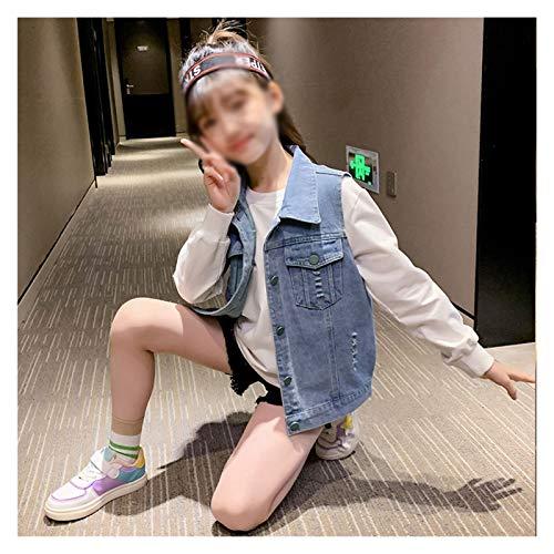 Chaleco de Mezclilla de niñas, Primavera y otoño Corta Color sólido Chaleco Chaleco, Chaleco de niños Lindos para 3-13 años (Color : Green Background, tamaño : 120cm)