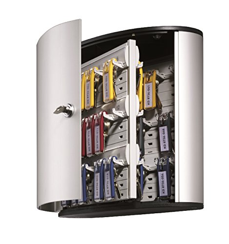 DURABLE Key Box with Key Lock, Holds 54 Key Tags, 11 x 11-3/4 x 4-5/8 Inches, Brushed Aluminum (195323)