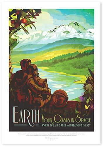 """Nukular Kunstdruck Poster A3 """"Earth – Your Oasis in Space"""" Original NASA (JPL) Design"""