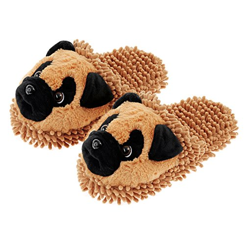Aroma Home Fuzzy Friends Slippers Tan Pug