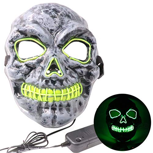 Fluorescerend masker voor Halloween, LED, koel wit licht, horror skull masker Bar Night Field