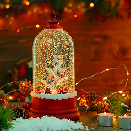 Red Christmas Snow Globe Lantern, Swirling Train Musical Water Globe Lantern with Snow Mountain Village, Led Lighted Xmas Water Globe Lamp, USB/ Battery Operated 6H Timer Holiday Decoration Lantern