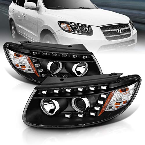 AmeriLite Black Projector Projector LED Parking Replacement Headlights for Hyundai Santa Fe - Passenger and Driver Side