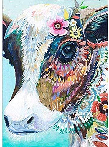 Kit de punto de cruz con kit de punto de cruz de bricolaje impreso, adecuado para principiantes, niños y adultos, con patrón de impresión de 11 quilates, color vaca de 16 x 20 pulgadas