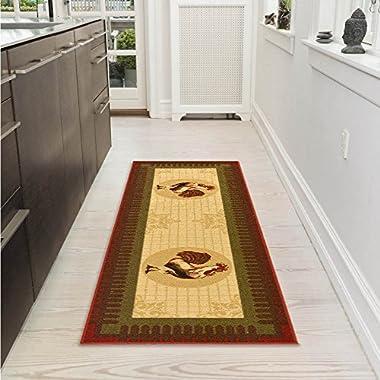 Ottomanson Siesta Collection Kitchen Rooster Design (Machine-Washable/Non-Slip) Runner Rug, 20  x 59 , Beige