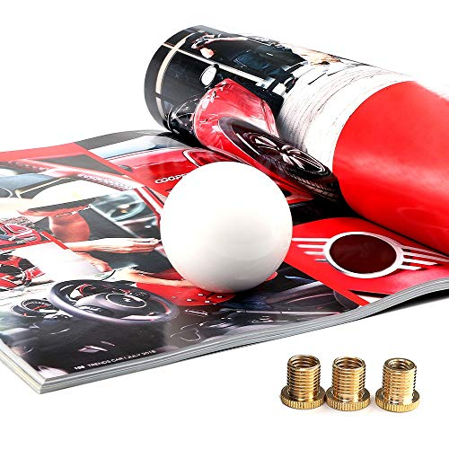 Top10 Racing White Round Ball Gear Shift Knob Universal Shifter Knobs with 3 Adapters Stick Shifter