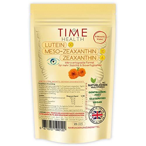Lutein: Formel Lutein 30 mg, Meso-Zeaxanthin 10 mg, Zeaxanthin 6 mg (120 Kapseln pro Beutel)