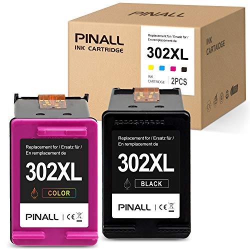 PINALL 2 Compatibles HP 302XL 302 Cartouches d´Encre pour HP DeskJet 1110 DeskJet 2130 3630 3636 3639 OfficeJet 3830 3831 3833 OfficeJet 4520 4525 4527 4650 4652 4655 5230 Envy 4520 4525