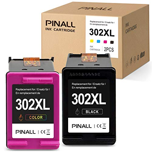 PINALL 2 Cartucho Compatible HP 302XL para HP DeskJet 3639 3630 OfficeJet 3831 3830 3833 OfficeJet 5230 5232 4655 4650Envy 4525 4500 4520 Impresora (1 Negro / 1 Color)