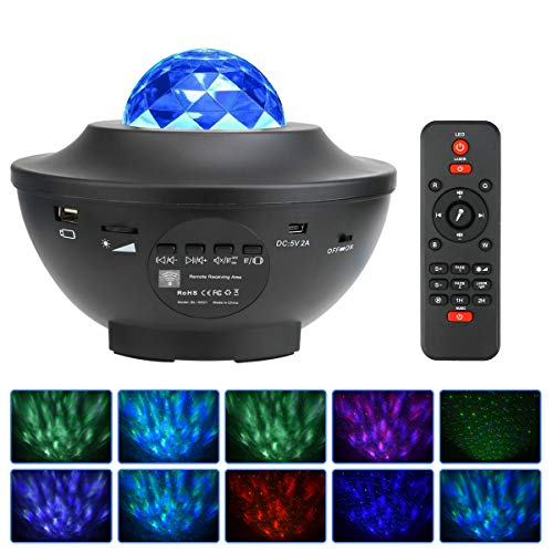 Lámpara Proyector Estrellas Infantil Proyector de Estrellas de luz Nocturna Ocean Wave con temporizador Control Remoto Audio Bluetooth para Niños Adulto Cumpleaños y Fiesta