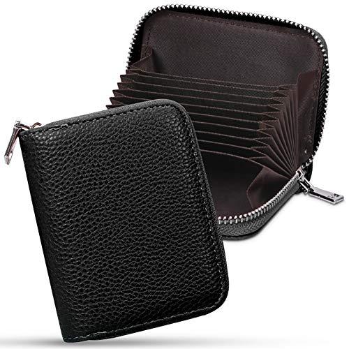 FYY - Soporte para tarjetas de crédito, hecho a mano, piel de alta gama, para tarjetas con cremallera, para tarjetas universales de identificación, color negro