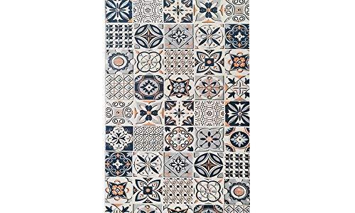 MANI TEXTILE Carreau de Ciment Alfombra, poliéster, Azul, 90 x 130