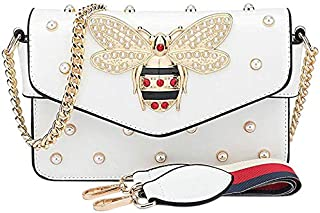 SODIAL Hot Fashion Rhinestones Bee Purses And Handbags For Women Shoulder Bags Crossbody Bags For Women Small Chain Bag White