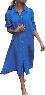 LENXH Long Sleeve Dress Women's Casual Skirt Cotton Dress V-Neck Dress Frilled Pocket Beach Skirt
