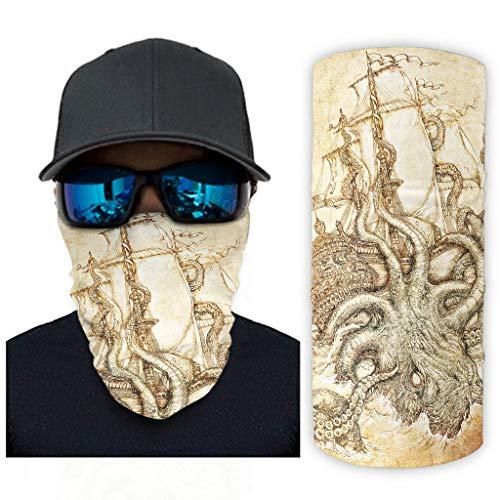 CCMugshop Pañuelo para la cara vintage, gran agarre, estampado de barco, transpirable, talla única, color blanco