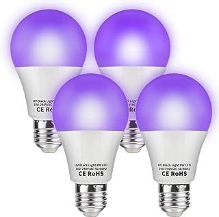 dystaval Lot de 4 Ampoule de Lumière Noire, E27 UV LED, Lampe Violette, 100-240V, Ultraviolet 395nm UVA, Éclairage Pour Ef...