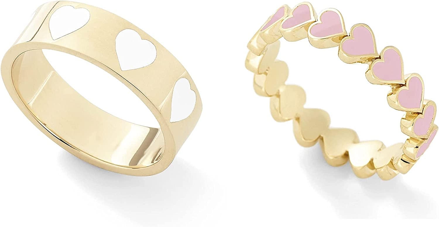 2PCS Colorful Heart Ring Gold Band Great interest Rings for Women Coup OFFicial Girl Set