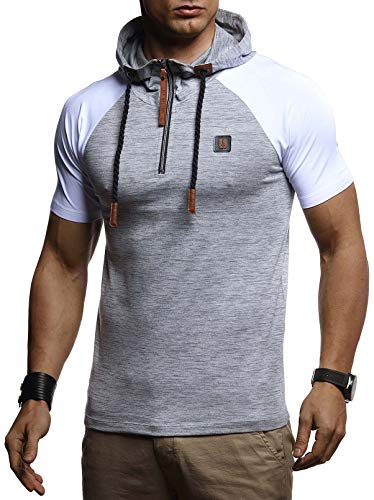 LEIF NELSON Men's Modern T-Shirt with Hood Shortsleeve Hoodie Sweater Jacket Slim Fit LN4895; Large, Gray