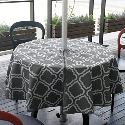 JLDTOP Round Outdoor Tablecloth with Umbrella Hole Waterproof, Spillproof Polyester Fabric Durable Patio Umbrella Tablecloth with Zipper for Patio Garden Tabletop Decor (60' Round, Grey Pattern)
