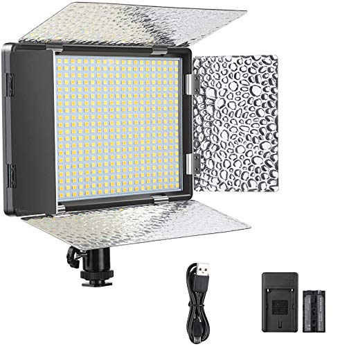 ENEGON Pannello Luminoso 520 luci LED con batteria ricaricabile 4000mAh, Caricabatterie, Accessorio utile per tutte le DSLR Fotocamere Videocamere Treppiede CRI95+, 3200-5600K per Studio Video YouTube