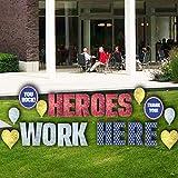 VictoryStore Heroes Work Here Yard Letters, 22 Waterproof Yard Signs, Include Stakes 12345
