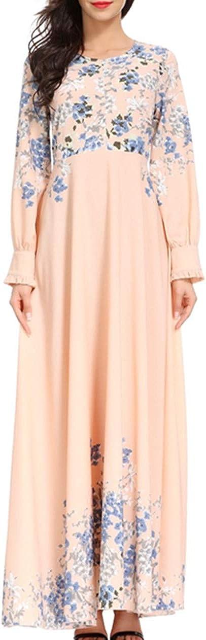 KRUIHAN Ladies Muslim Dress Plus Size Elegant Retro Slim Long Robe