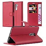 Cadorabo Hülle für Honor 6X in Karmin ROT - Handyhülle mit Magnetverschluss, Standfunktion & Kartenfach - Hülle Cover Schutzhülle Etui Tasche Book Klapp Style