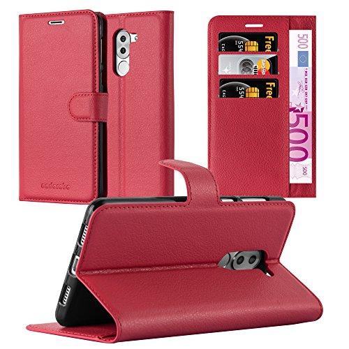 Cadorabo Hülle für Honor 6X - Hülle in Karmin ROT – Handyhülle mit Kartenfach & Standfunktion - Case Cover Schutzhülle Etui Tasche Book Klapp Style