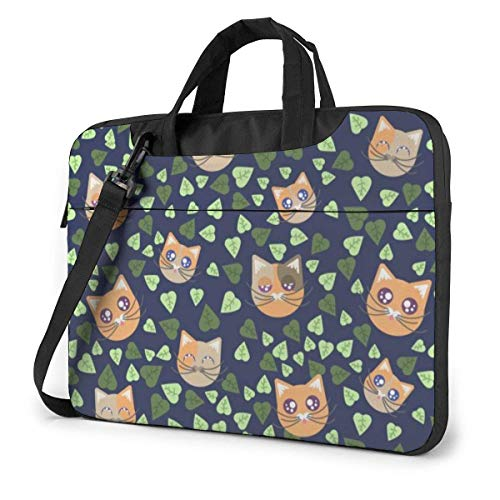 "15.6"" Custodia Borsa PC Laptop Sleeve Case Briefcase Messenger Gatto Anime Foglie Manico Sacchetto Protettiva per Notebook"
