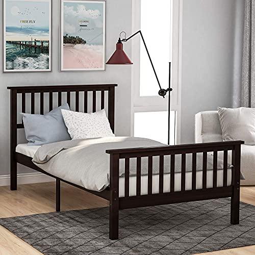 Lattenbodems met twee eenpersoonsbedden, houten platformbed Twin bed met hoofdeinde, voeteneinde en sterke houten lattensteunen, rustieke boerderijstijl, industriële vierkante bedframe-ondersteuning (