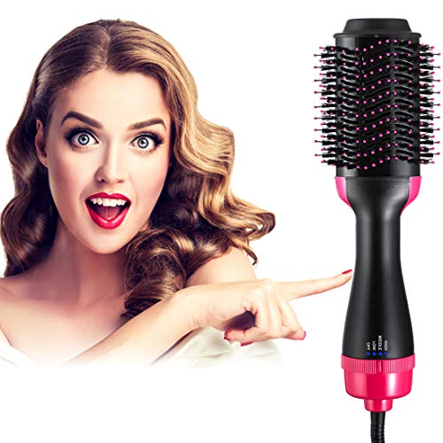 Hot Air Brush One Step Hair Dryer and Volumizer 4 in 1 Anti-Scald Hair Curler Straightener with Salon Negative Ions Hair Dryer Brush (Black)