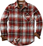 CQR Men's All Cotton Flannel Shirt, Long Sleeve Casual Button Up Plaid Shirt, Brushed Soft Outdoor Shirts, Corduroy Lined(hof110) - Flannel Burgundy, Large