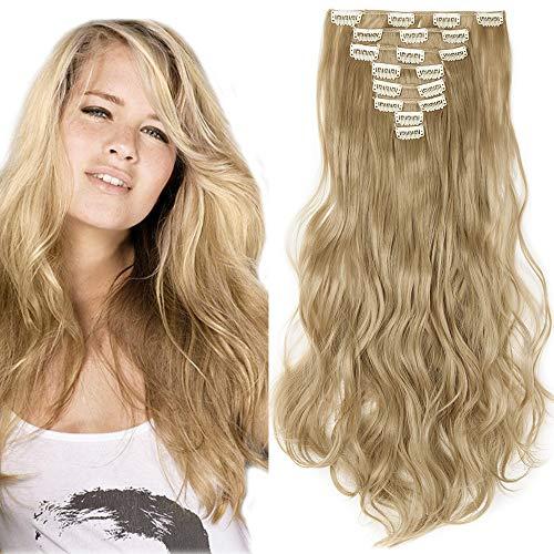 Clip in Extensions Haarverlängerung Haarteil 8 Tresssen wie Echthaar gewellt Mittelblond 17
