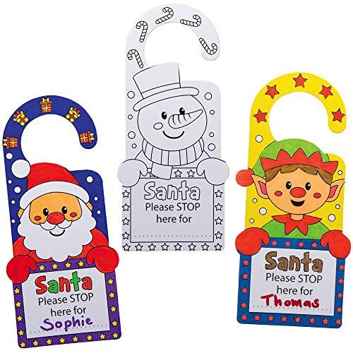 Baker Ross AX492 Santa Stop Here Color in Door Hangers - Pack of 10, Christmas Door Hangers for Kids Arts and Crafts This Festive Season