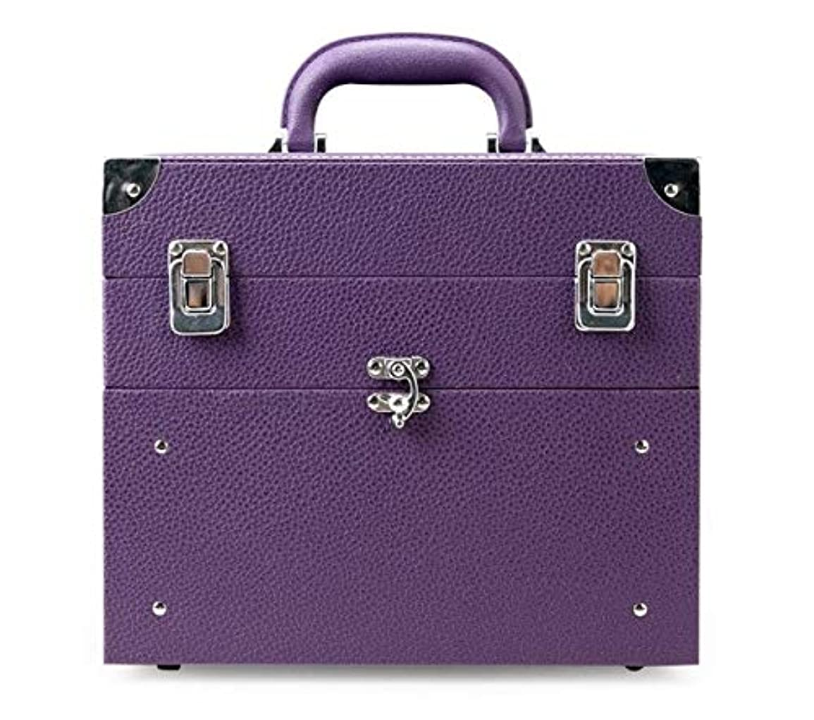 会計九時四十五分包帯化粧箱、大容量の二重層の携帯用化粧品の箱、携帯用旅行化粧品袋の収納袋、美の構造の釘の宝石類の収納箱 (Color : Purple)