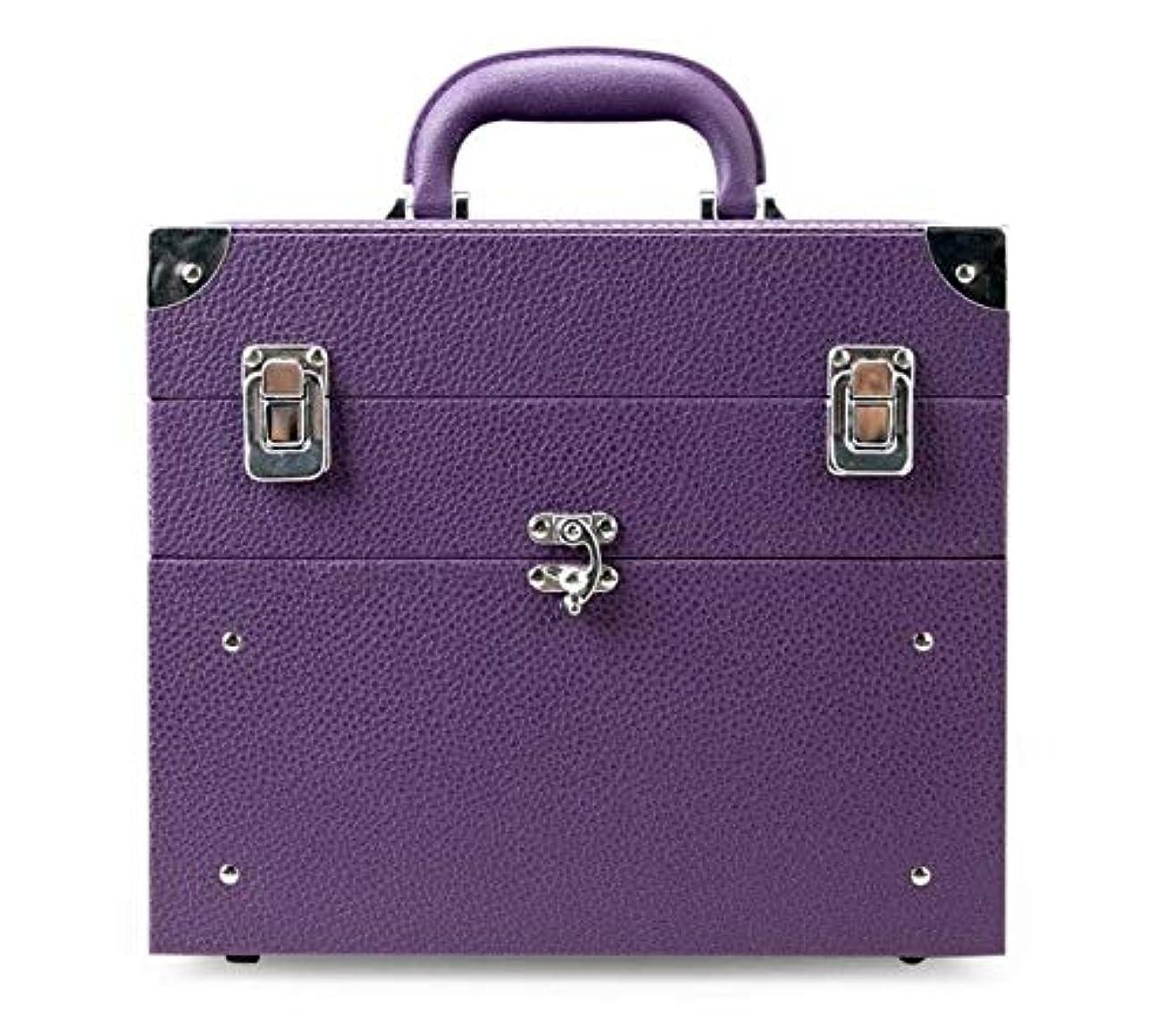 どうやら東スキム化粧箱、大容量の二重層の携帯用化粧品の箱、携帯用旅行化粧品袋の収納袋、美の構造の釘の宝石類の収納箱 (Color : Purple)