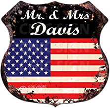 AMERICA FLAG MR. & MRS DAVIS Family Name Chic Sign Vintage Retro Rustic 11.5