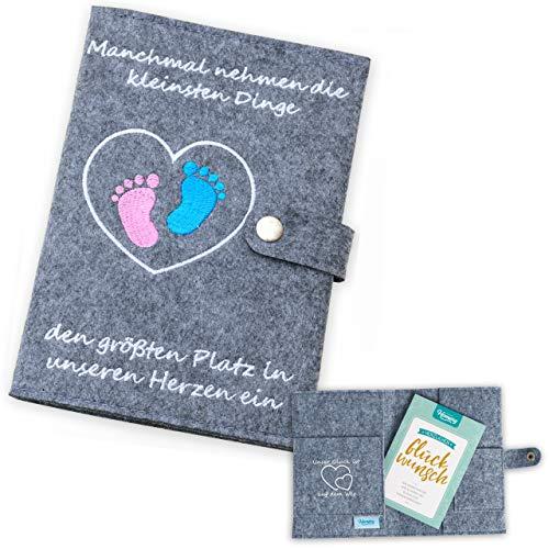 Mutterpasshülle aus Filz von Homery, hochwertiges Geschenk zur Schwangerschaft, Geburt oder Baby-Party - extra viele Fächer und Verschluss (Deutscher Mutterpass, Anthrazit)
