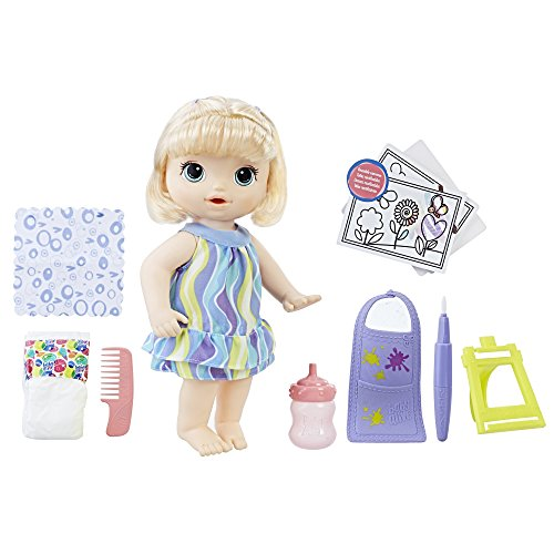 Baby Alive Finger Paint Baby: Blonde Hair Doll, Drinks & Wets, Doll Accessories Includes Art Supplies, Bottle and Diaper, Great Doll for 3-Year-Old Girls & Boys and Up (Amazon Exclusive)