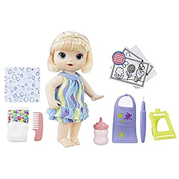 Baby Alive Finger Paint Baby  Blonde Hair Doll Drinks & Wets Doll Accessories Includes Art Supplies Bottle and Diaper Great Doll for 3-Year-Old Girls & Boys and Up  Amazon Exclusive