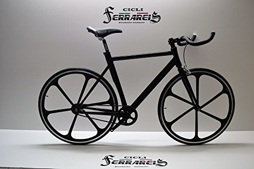 Cicli Ferrareis Fixed Bike Single Speed Bici Scatto Fisso a 6 Razze Nera Personalizzabile
