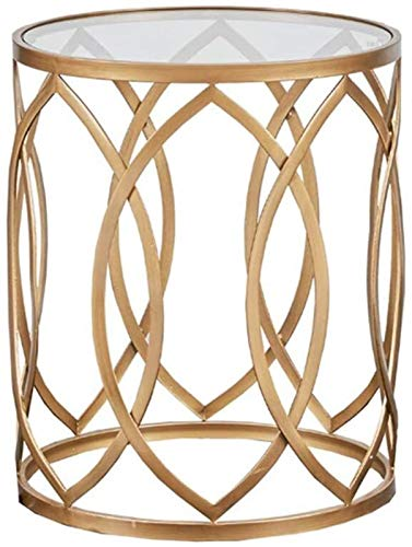 YWN Side Table, Metal Barrel End Table, Modern Style End Tables, for Living Room Round Side Table/Golden Accent Table (Color : Gold)